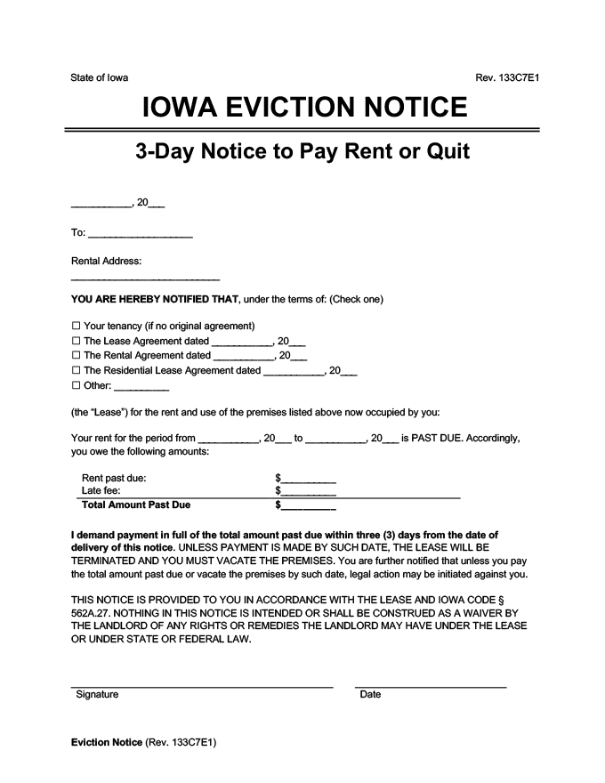 iowa eviction notice 3 day pay rent or quit