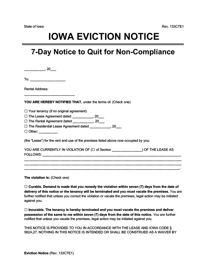 iowa eviction notice 7 day comply or quit
