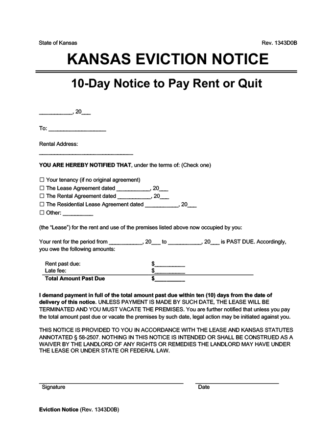 Kansas eviction notice 10 day pay rent or quit