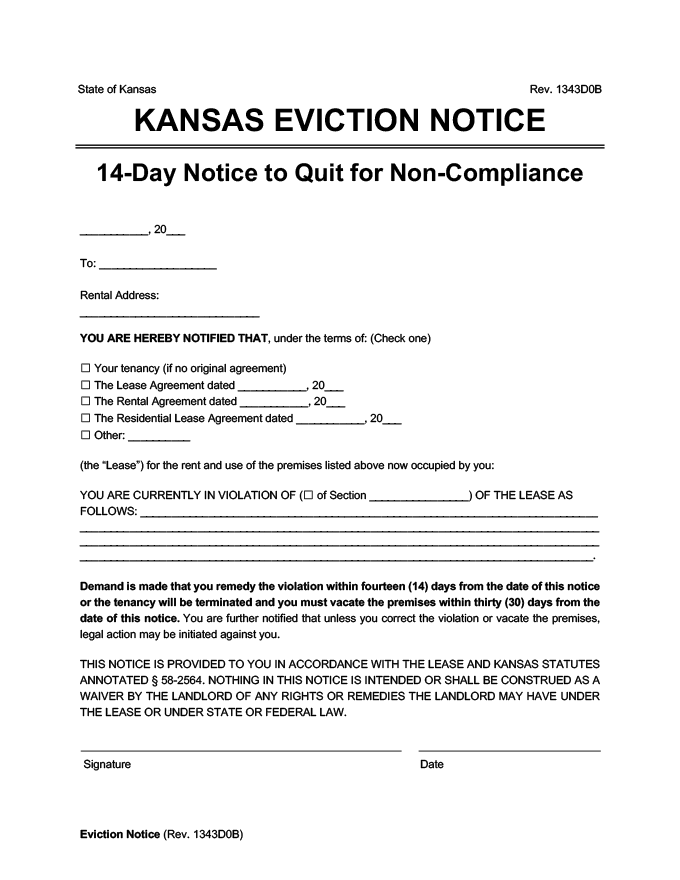 Kansas eviction notice 14 day comply or quit