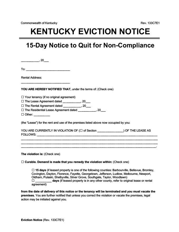 kentucky eviction notice 15 day comply or quit