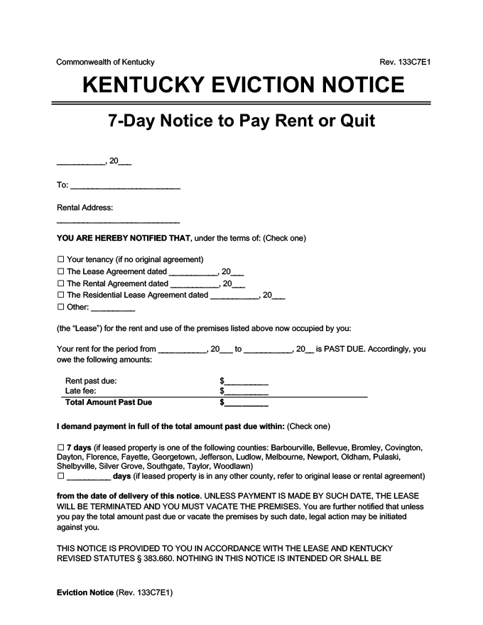 kentucky eviction notice 7 day pay rent or quit
