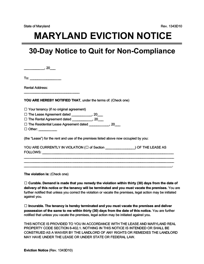 Maryland eviction notice 30 day comply or quit