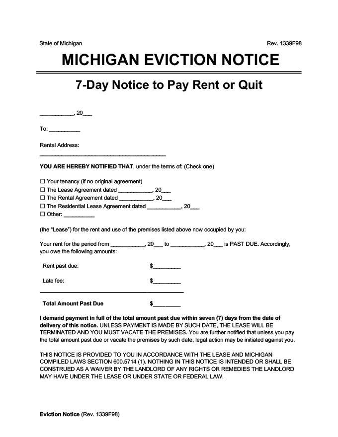 michigan eviction notice 7 day pay rent or quit