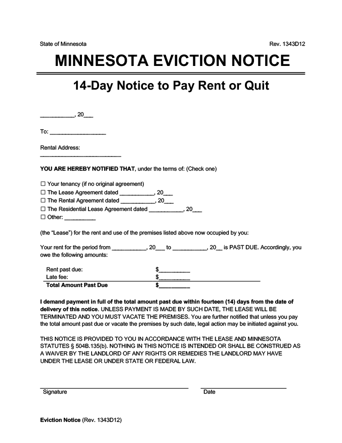 minnesota eviction notice 14 day pay rent or quit