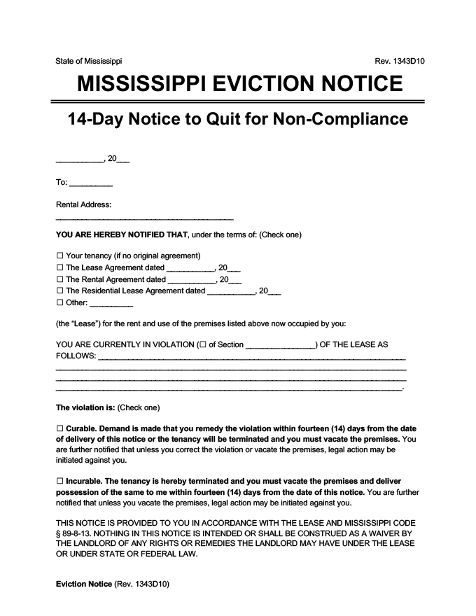 mississippi eviction notice 14 day comply or quit