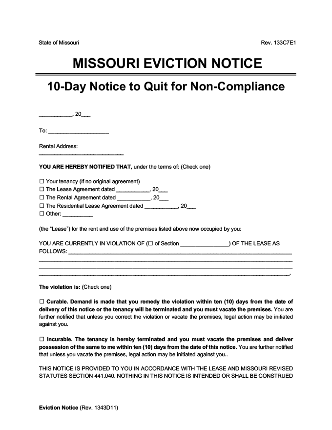 missouri eviction notice 10 day comply or quit