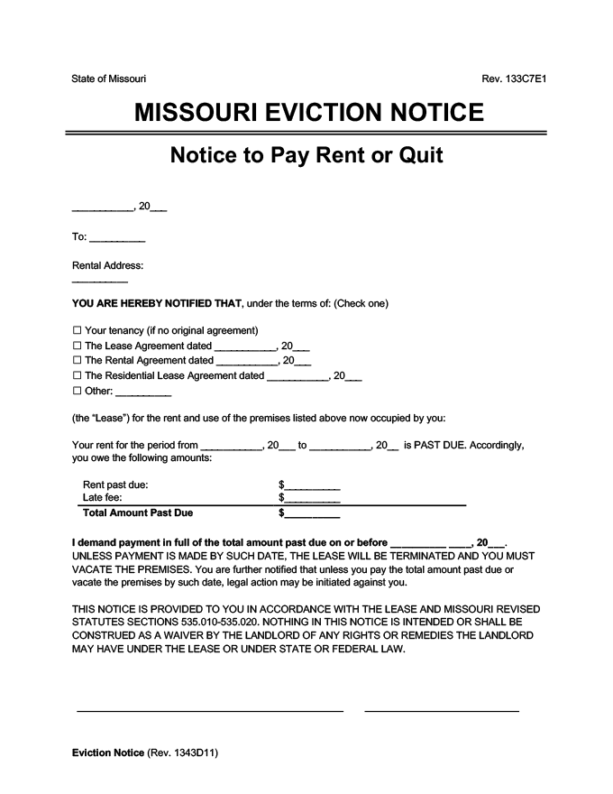 missouri eviction notice pay rent or quit