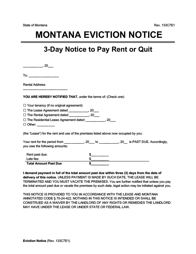 montana eviction notice 3 day pay rent or quit