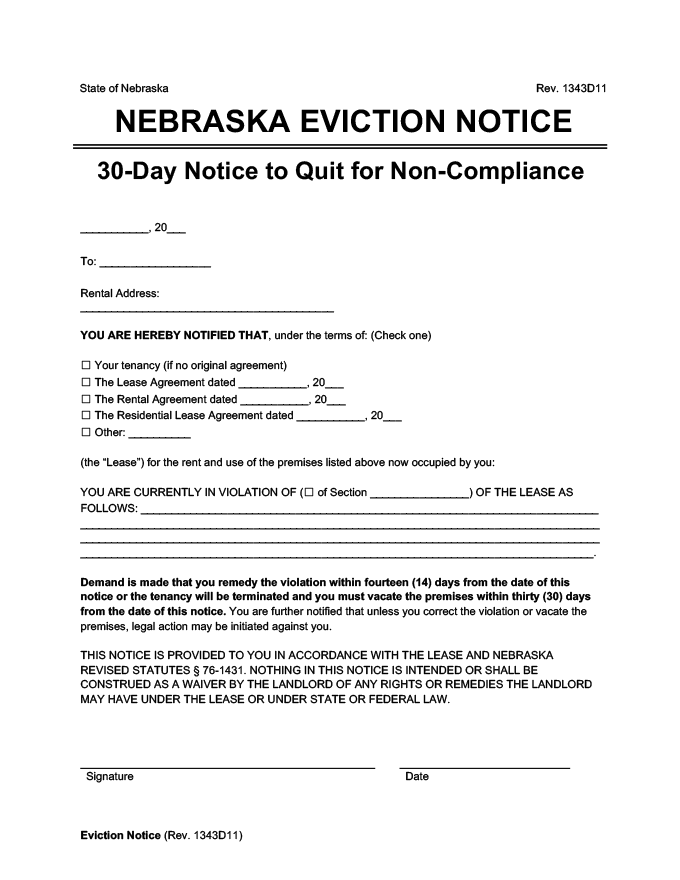 nebraska eviction notice 14 / 30 day comply or quit