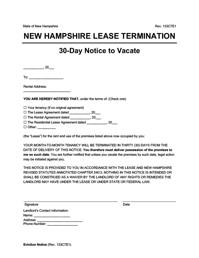 new hampshire 30 day lease termination
