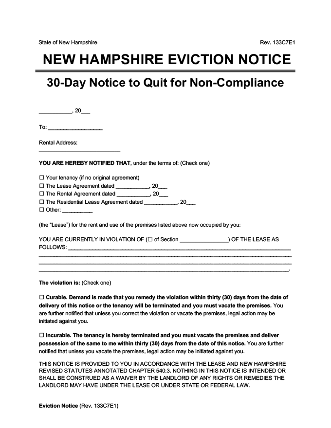 new hampshire eviction notice 30 day comply or quit