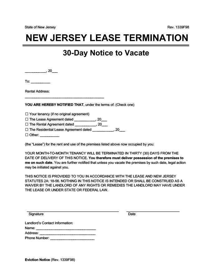 new jersey 30 day lease termination