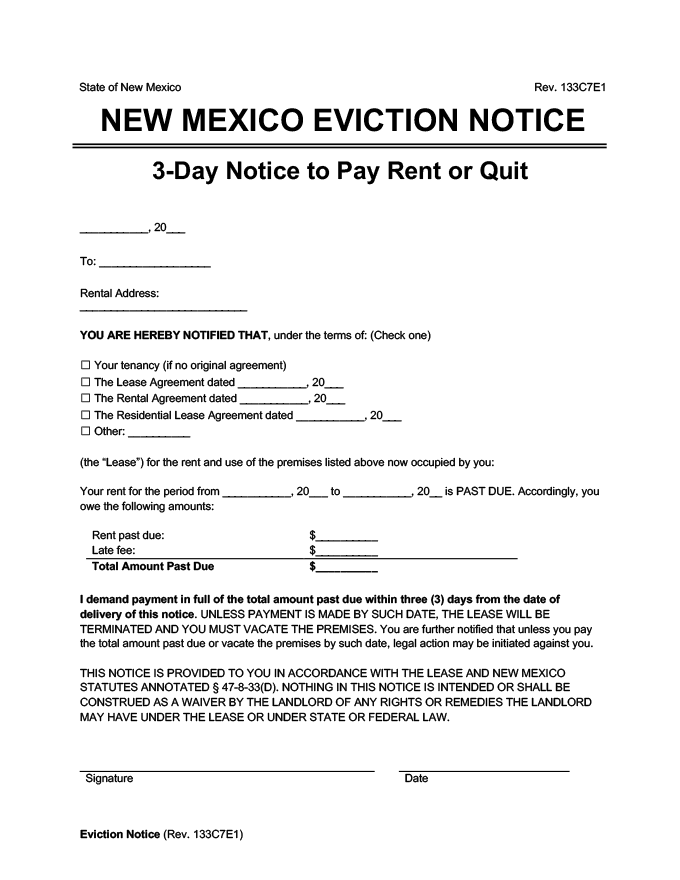new mexico eviction notice 3 day pay rent or quit