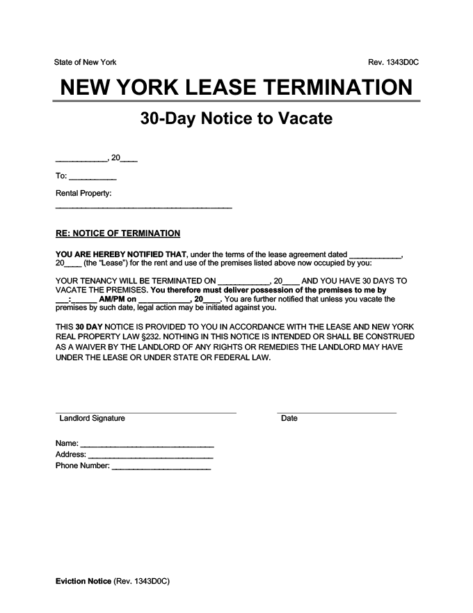 new york 30 day lease termination