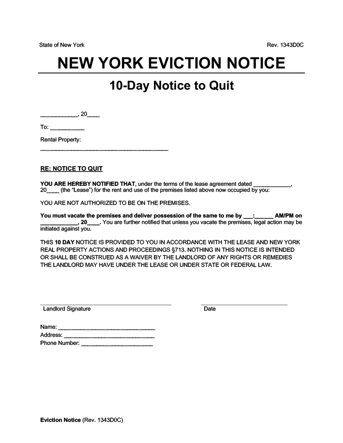 new york eviction notice 10 day quit