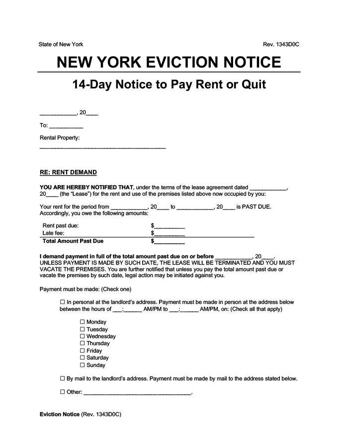 new york eviction notice 14 day pay rent or quit