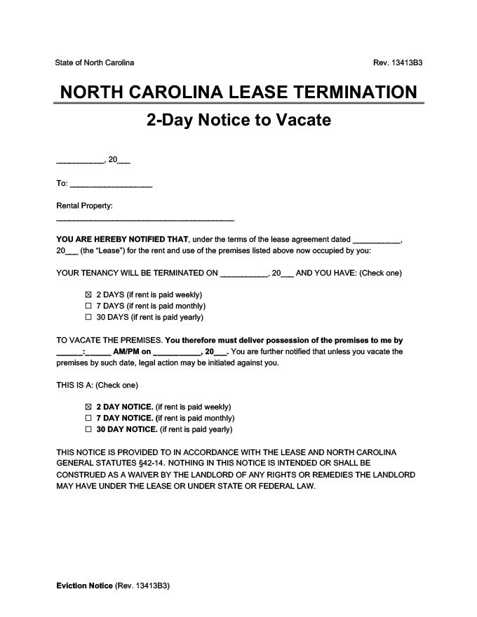 north carolina 2 day lease termination