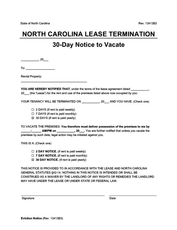 north carolina 30 day lease termination