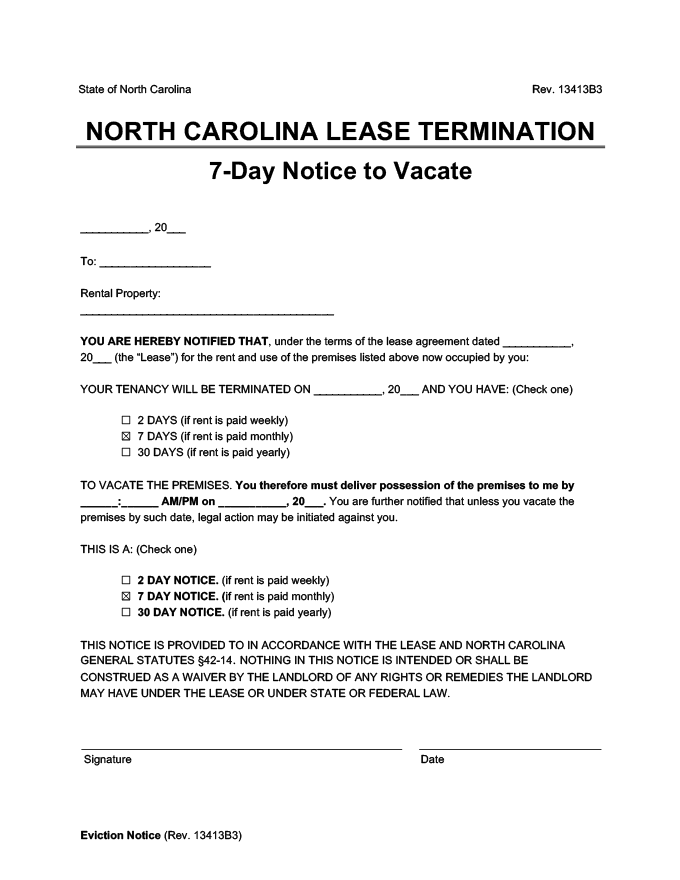 north carolina 7 day lease termination