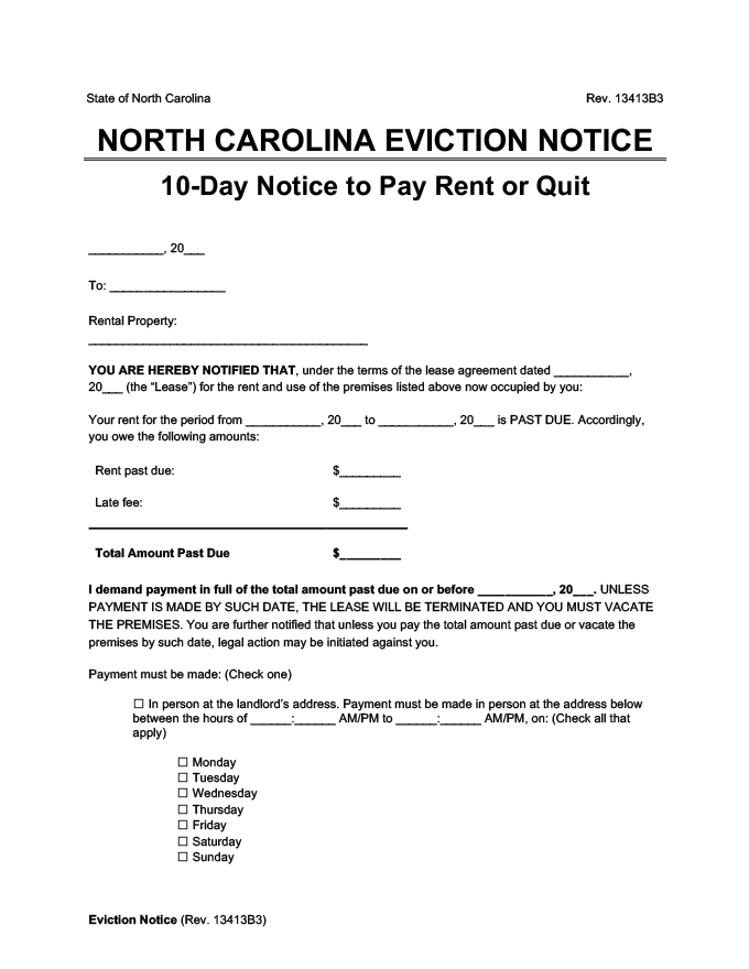 north carolina eviction notice 10 day pay rent or quit