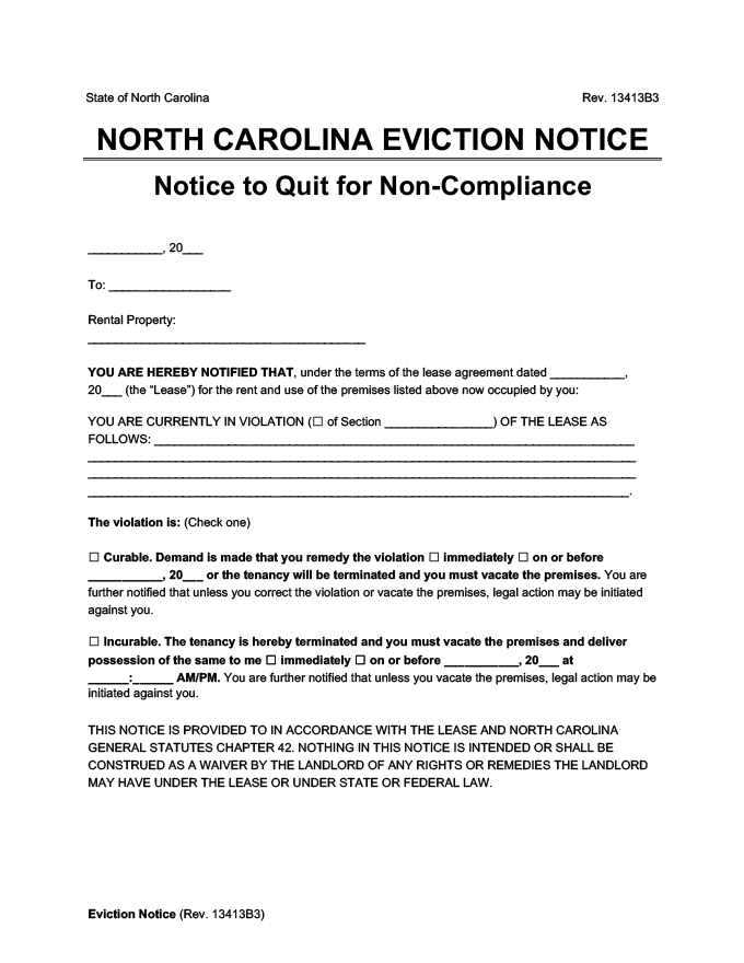 north carolina eviction notice comply or quit