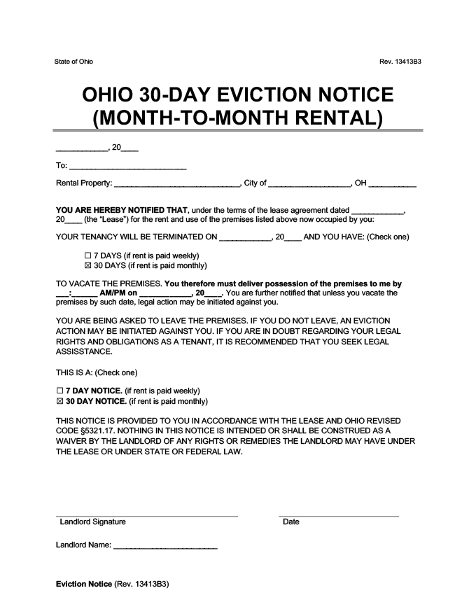 ohio 30 day eviction notice for month to month rentals form