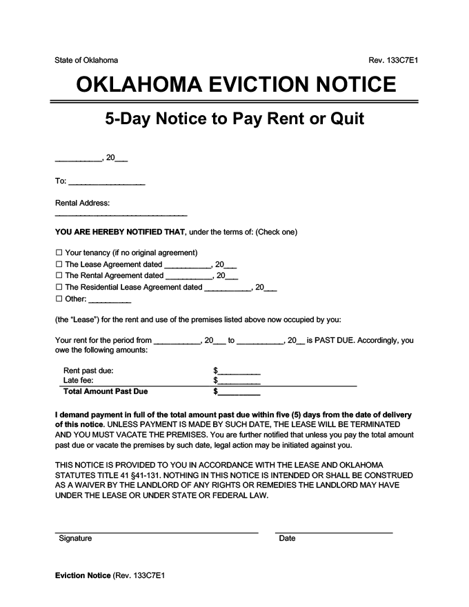 Oklahoma eviction notice 5 day pay rent or quit