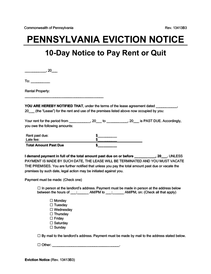 pennsylvania eviction 10 day notice pay rent or quit