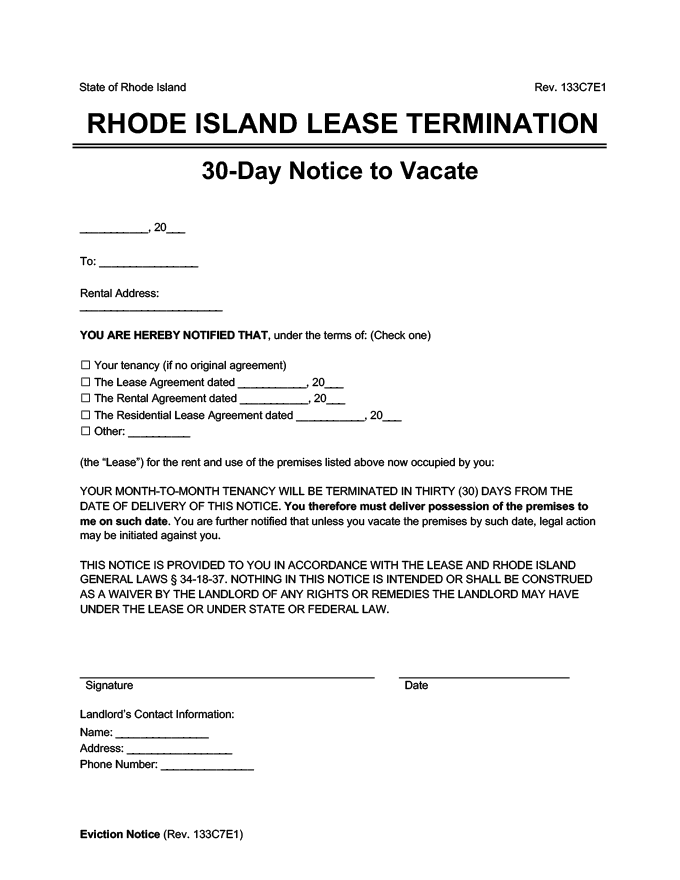 rhode island 30 day lease termination