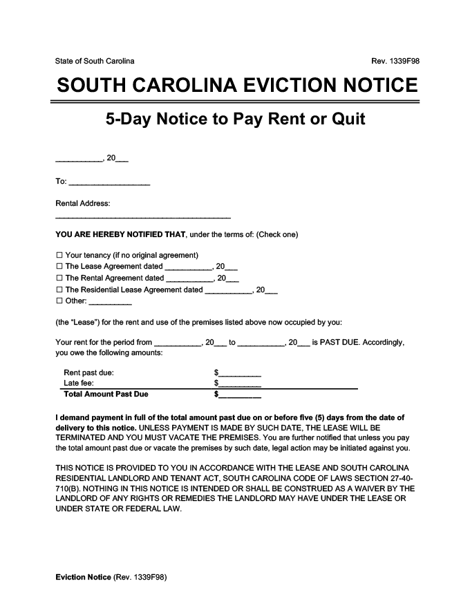 south carolina eviction notice 5 day pay rent or quit