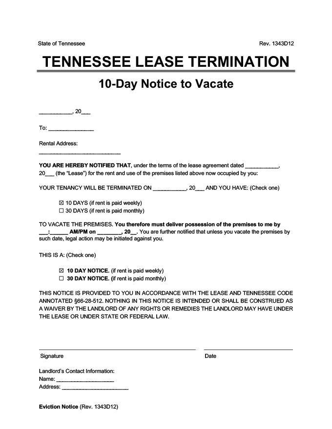 tennessee 10 day lease termination