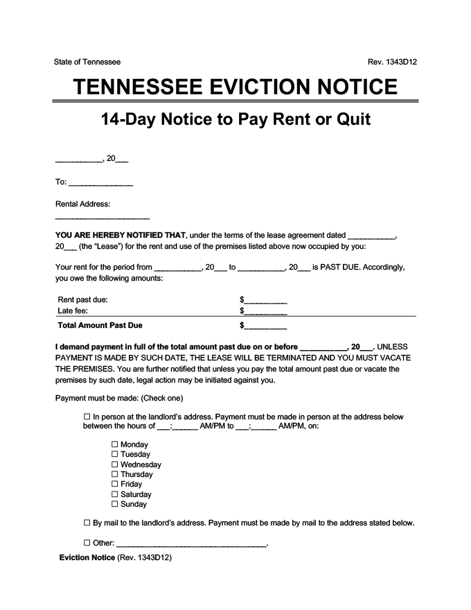 tennessee eviction notice 14 day pay rent or quit
