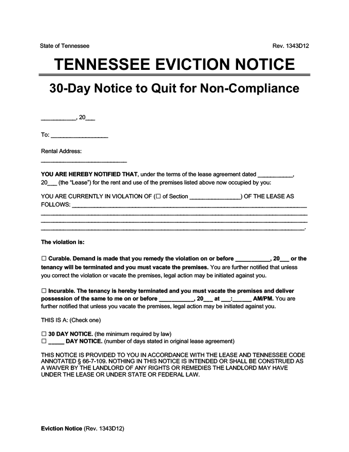 tennessee eviction notice 30 day comply or quit