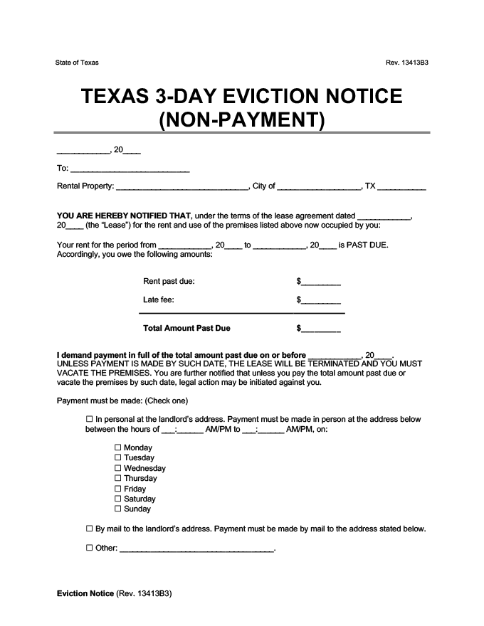 texas 3 day eviction notice for nonpayment