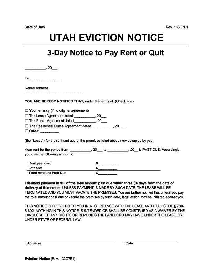 Utah eviction notice 3 day pay rent or quit