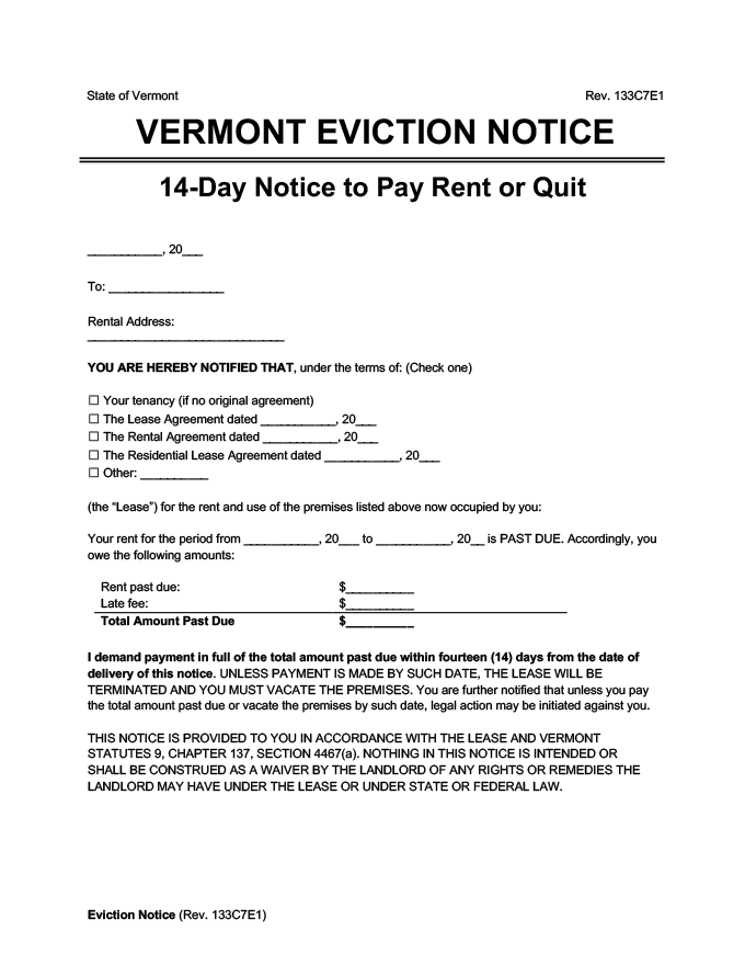 vermont eviction notice 14 day pay rent or quit