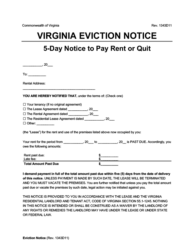 virginia eviction notice 5 day pay rent or quit