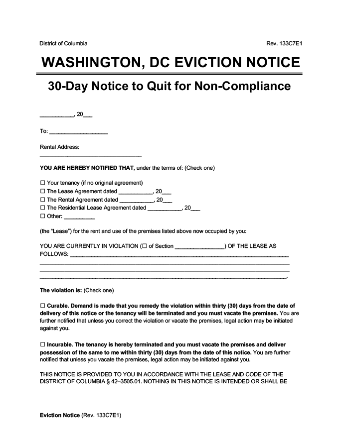 washington dc eviction notice 30 day comply or quit