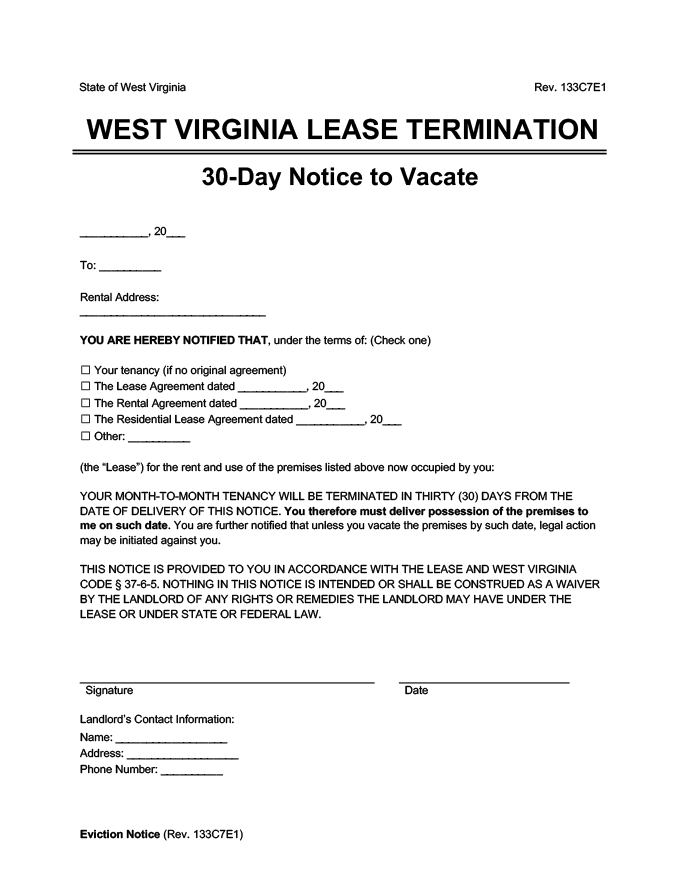 west virginia 30 day lease termination