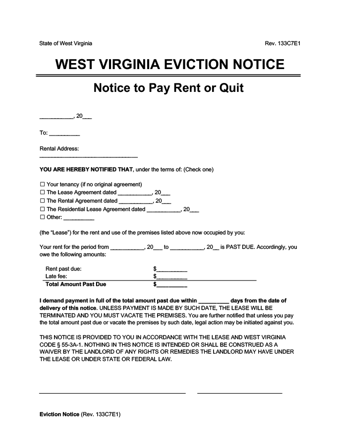 west virginia eviction notice pay rent or quit
