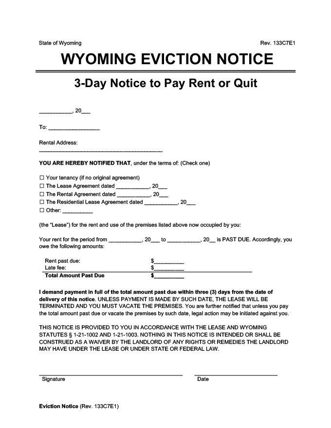 wyoming eviction notice 3 day pay rent or quit
