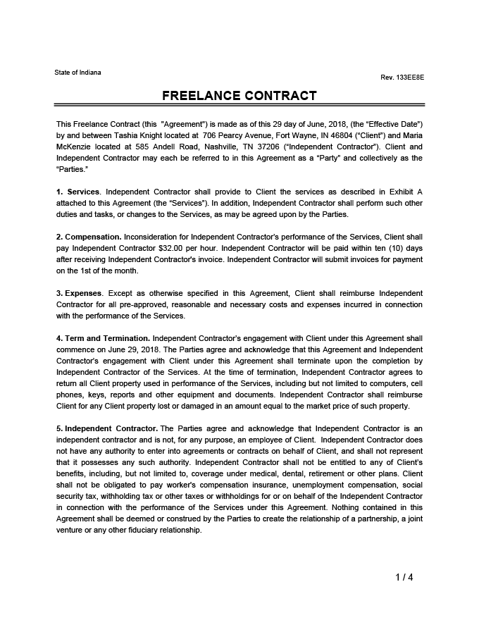 Freelance Contract Sample