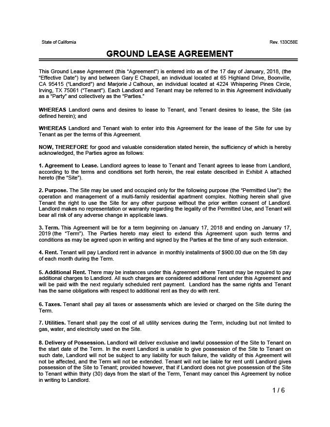 Sample Land Lease Agreement