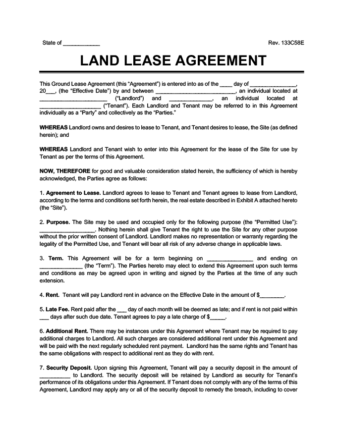 Ground Lease Agreement Print Download – Sample Land Lease Agreement Templates