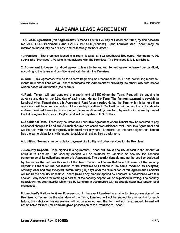 Alabama Lease Agreement Sample