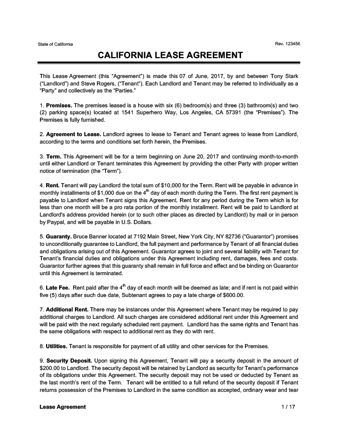 California Lease Agreement Sample