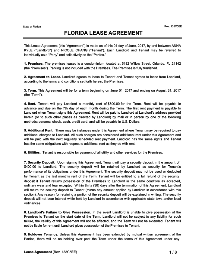 Florida Lease Agreement Sample