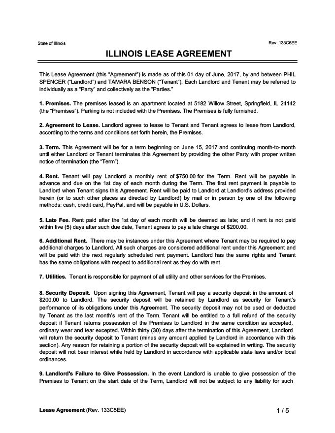 Illinois Lease Agreement Sample