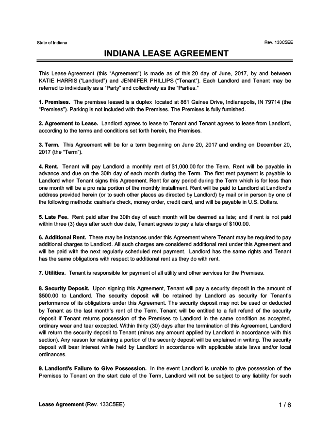 Indiana Lease Agreement Sample
